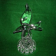 Cambridge Flower Block or Frog with Sea Gull Crystal