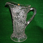 Early American Pressed Glass Oneata or Chimo Pitcher 8.5 inches