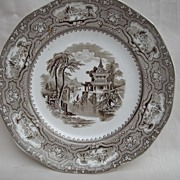 Brown Transferware -Pearlware with Blue Glaze-Kan-Su- T.Walker Ironstone England