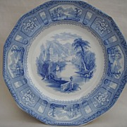 Pearlware Transferware Plate Marked Shannon Blue and White
