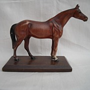 Brown and White Hubley Horse on Base 6 inches by 2 inches Wide by 5/8 inch Thick