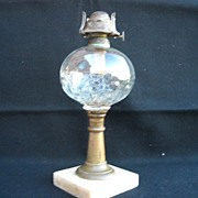 1860's- Bulls Eye Pattern- Peg Lamp with Marble Base and Replacement Chimney