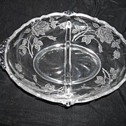 Heisey Rose Etching~Two Handled~ Divided Bowl~ Crystal