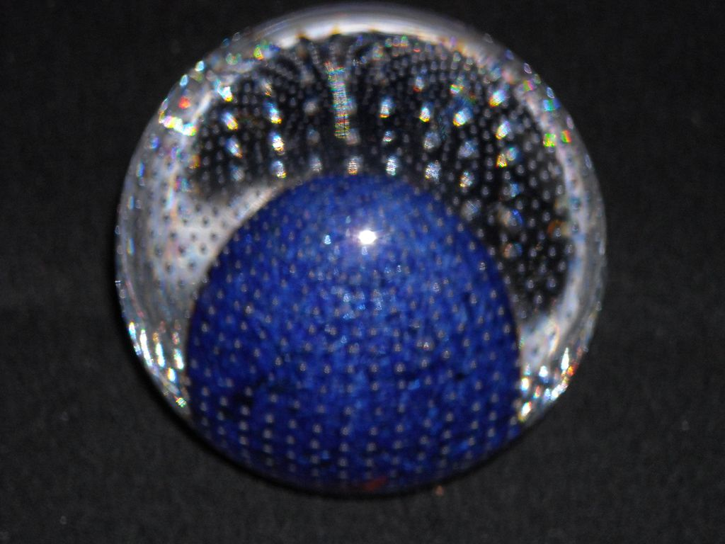 Cobalt Blue and Crystal Paperweight With Bullicante 3 Inches, bottom 1 1/2 inch diameter