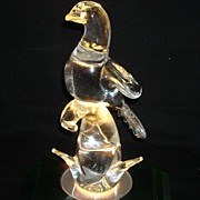 Murano Glass Pigeon 11 1/2 Inches  and 6 inches Wide Tall With Foil Sticker