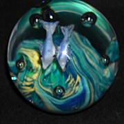 Art Glass Paperweight With 2 Fish ~Look Like Dolphins