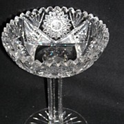 American Brilliant Period Antique Cut Glass Compote~Desdemona~ By T.B. Clark