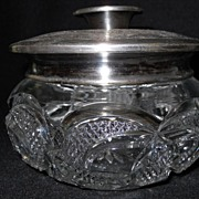 Heisey Hair Receiver With Silverplate Lid