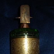 Moser Emerald Green Cologne Bottle Facet Cut~Cut Etching With Gold Gilt~Exquisite~Grand