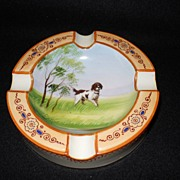Noritake~ Handpainted Dog Ashtray~Moriage~1920's~RARE Piece~Green Mark~Fabulous!