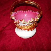Stevens and Williams Victorian Glass Basket-pink-white-amber decorated-amber crested