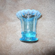 Fenton- Blue Opalescent- Mini Vase- Second ONE! 2 inches high-RARE LITTLE ONE!
