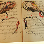 Vintage French Sheet Music Watercolor