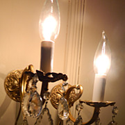 SOLD Pair of French Brass Crystal Sconces
