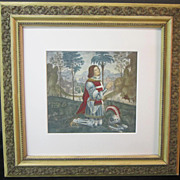 A Renaissance Revival Style Hand Colored Gravure of a Knight in a Landscape.