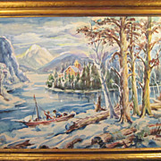 A American Winter Boating Watercolor by Gustavo Cenci (1897-1982)