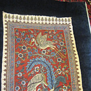 A Vintage Persian Kalamkari Hand Stamped Textile With Birds.