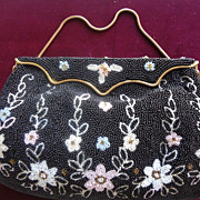 French Black & Pastel Floral Beaded  Purse