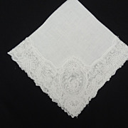 Bridal Hankie White Cotton Lace Cutout Work