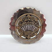 Vintage Button Antique Large Brass/Metal Fan Button