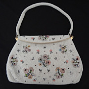1940's White Seed Pearl Evening Bag Floral Design BEAUTIFUL: