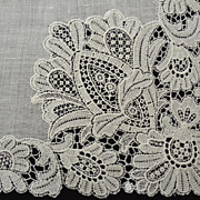 Exquisite Antique Point Lace Hankie Handkerchief  Wedding Bridal