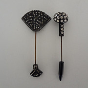 TWO Rhinestone Hat Pins/ Lapel Pins Excellent  Cond.