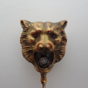 Victorian Brass Bear's Head with Stones
