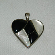 SALE Vintage Onyx & MOP Inlay Sterling Silver Puffy Heart Pendant