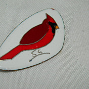 SALE Gorgeous Hand Made Enamel Cardinal Bird Brooch ~Signed by Artist