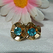 SALE Brilliant Art Deco Blue Paste Earrings ~ Free Ship Item!