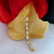 SALE Gorgeous Brushed Gold Tone Baguette Rhinestone Leaf Brooch