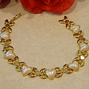 SALE Vintage Pearl Thermoset Hearts & Butterflies Bracelet