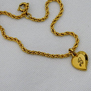 "SALE Vintage Speidel ""B"" Heart Charm Bracelet ~ Gold Filled"