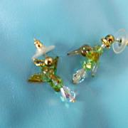SALE Free Ship!! Hand Made Hummingbird Earrings ~ Blown Glass