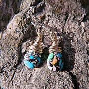 Jackie O ~ Messy Wrapped Sterling Mosaic Turquoise Briolette Earrings