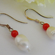 SALE Super Sterling Sale! Hand Made Fresh Water Pearl & Coral Earrings ~ By Jackie O