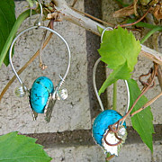 "SALE Sterling Sale! Hand Crafted Sterling Silver Turquoise Hoop Earrings ~ By Jackie ""O"""
