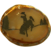 Vintage Hand Carved Scenic Agate Belt Buckle ~ Bucking Bronco