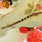 SALE Lovely Multi Colored Rhinestone Single Strand Bracelet