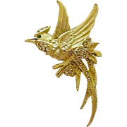 SALE Beautiful Rhinestone Bird Brooch