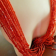 SALE Dramatic Vintage Inspired Multi Strand Glass Seed Bead Necklace, Bib