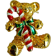 SALE Cute! Gold Tone Rhinestone Christmas Bear Brooch