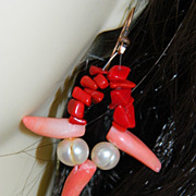 SALE One of a Kind by Jackie O ~ Genuine Coral Fresh Water Pearls Earrings