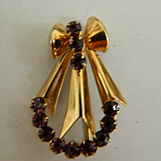 REDUCED Super Pretty Art Deco Vermiel  Purple Rhinestone Brooch