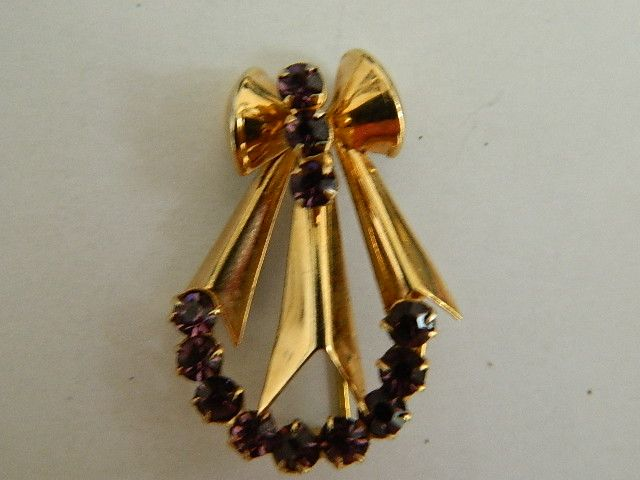 Super Pretty Art Deco Vermiel  Purple Rhinestone Brooch