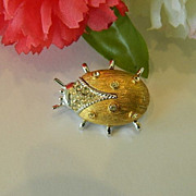 SALE FREE SHIPPING! Super Cute Critter Pin! Rhinestone Beetle Brooch
