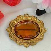 SALE Price Slashed!! Amazing Art Nouveau Amber Glass Gold Fill Repousse Brooch