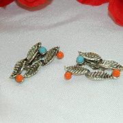 SALE Vintage Faux Turquoise & Coral Clip Back Earrings ~