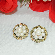 SALE Free Ship Item! Pretty Coro Summer White Earrings